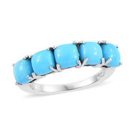 Arizona Sleeping Beauty Turquoise (Cush 5x5 mm) Five Stone Ring in Platinum Overlay Sterling Silver