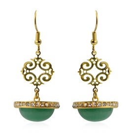 25.01 Ct Green Jade and White Austrian Crystal Chandelier Earrings in Stainless Steel