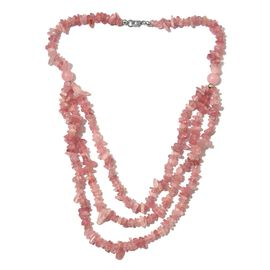 Rose Quartz Necklace (Size 20) with Lobster Lock in Rhodium Overlay Sterling Silver 333.50 Ct.