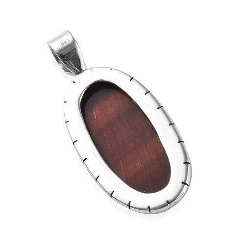 Tucson Special - Red Tiger Eye (Ovl 30x15mm) Pendant in Sterling Silver 17.94 Ct.