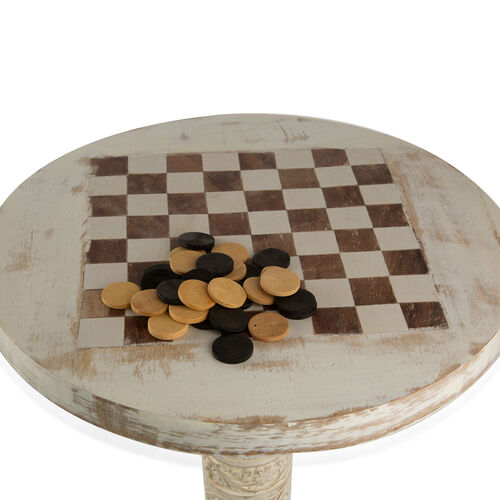 Super Auction - Antique Finish Foldable Round Chess and Checkers Table With Hand Carved Leg in White Colour (Size 30x30 Cm)