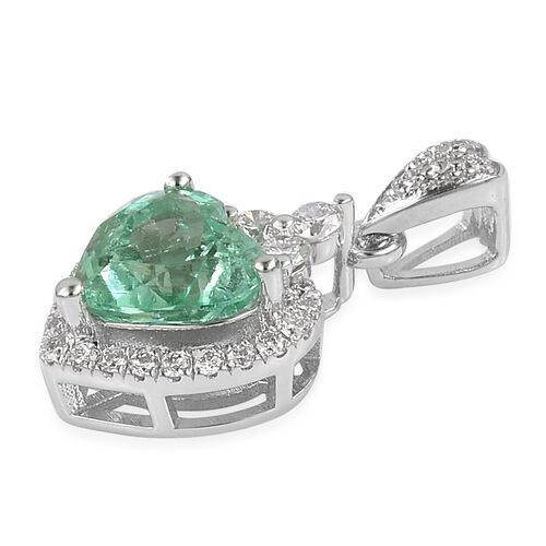 One of a Kind- ILIANA 18K White Gold AAA Boyaca Colombian Emerald (Hrt 2.25 Ct),  Diamond (SI/G-H) Heart Pendant 2.425 Ct.