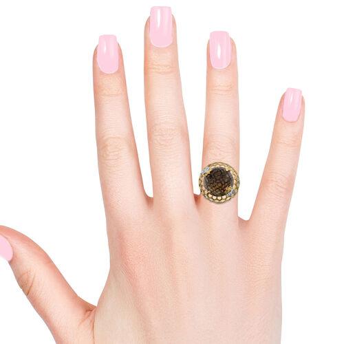 GP Brazilian Smoky Quartz (Rnd 12.98 Ct), Kanchanaburi Blue Sapphire Honey Comb Ring in Platinum and Yellow Gold Overlay Sterling Silver 13.000 Ct, Silver wt 5.55 Gms.