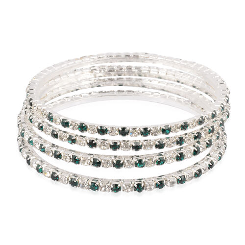 4 Piece Set - Green and White Austrian Crystal Bangle (Size 7.75) in Silver Tone