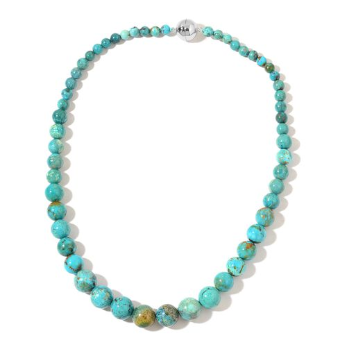 Very Rare Anhui Turquoise Necklace (Size 20) with Magnetic Clasp in Rhodium Plated Sterling Silver 3