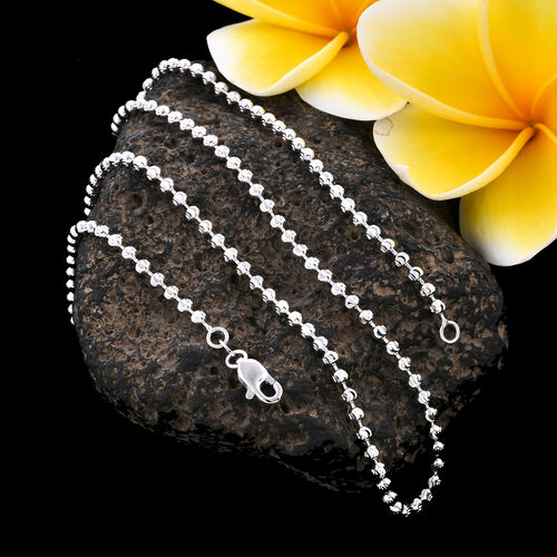 9K White Gold Disco Ball Necklace (Size 20), Gold wt 9.20 Gms