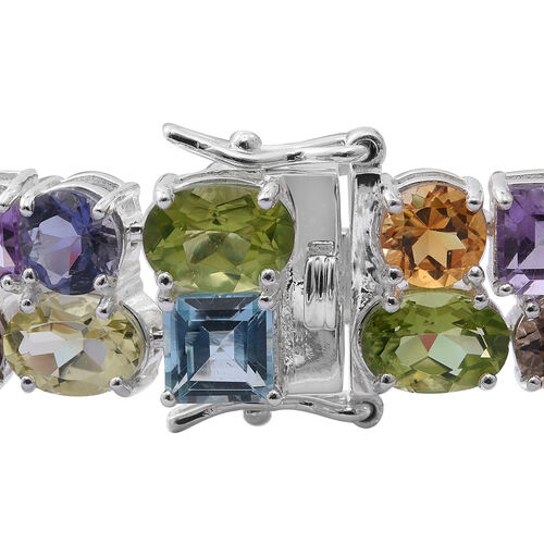 Sky Blue Topaz (Oct), Swiss Blue Topaz, Brazilian Amethyst and Multi Gemstone Bracelet (Size 7.25) in Rhodium Plated Sterling Silver 34.500 Ct. Silver wt 17.20 Gms.