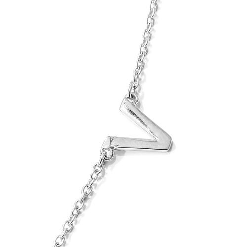 Vicenza Collection Platinum Overlay Sterling Silver Love Inspired Necklace (Size 18), Silver wt. 3.40 Gms.