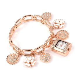 STRADA Japanese Movement White Austrian Crystal Studded Water Resistant Bracelet Watch With Multi Charm (Size 7.5) with Rose Gold Strap