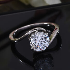 J Francis Platinum Overlay Sterling Silver Ring Made with SWAROVSKI ZIRCONIA 2.80 Ct.
