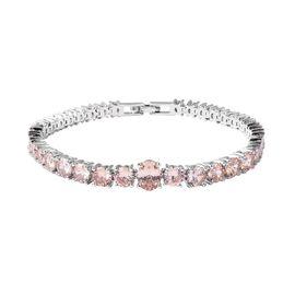 Simulated Champagne Colour Diamond Tennis Design Bracelet in Silver Tone 7.5 Inch