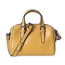 100% Genuine Leather Yellow Colour Tote Bag (Size 20x10.5x13 Cm) with Detachable Shoulder Strap (110