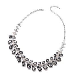 Simulated Grey Spinel and White Austrian Crystal Statement Necklace 22 with 4 inch Extender