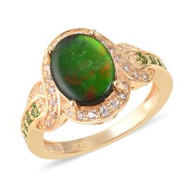 2.50 Ct Canadian Ammolite and Multi Gemstone Halo Design Ring in Gold Plated Sterling Silver