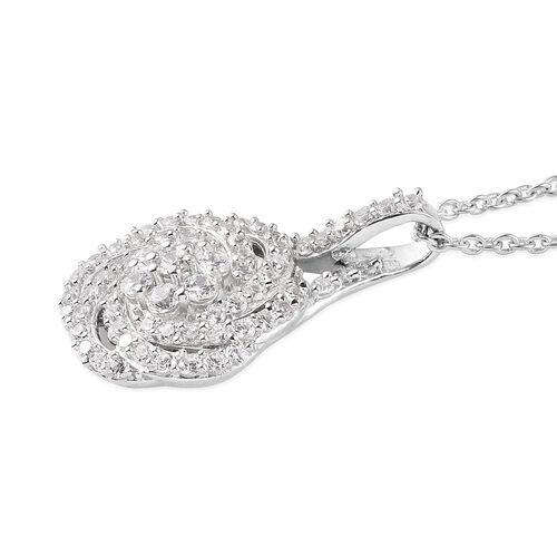 J Francis - Platinum Overlay Sterling Silver Pendant with Chain (Size 18) Made with SWAROVSKI ZIRCONIA 1.25 Ct.