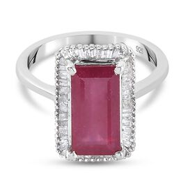 AA African Ruby and Natural Diamond Ring in Platinum Overlay Sterling Silver 4.00 Ct.