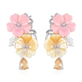Jardin Collection - Pink and Yellow Mother of Pearl, Citrine and Natural White Cambodian Zircon Earr