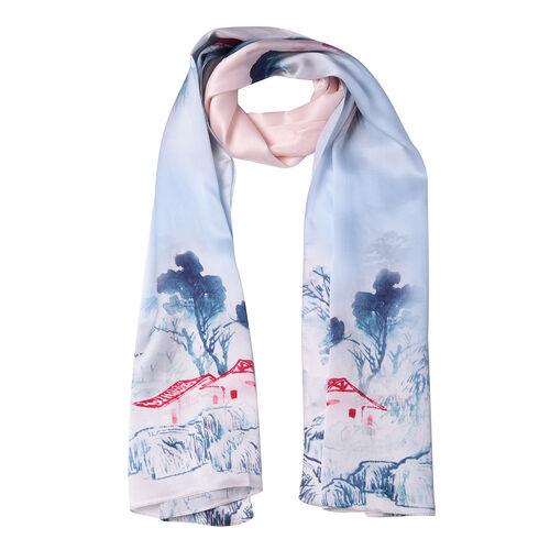 LA MAREY 100% Gloss Mulberry Silk Scarf in Landscape Print (175x52cm)