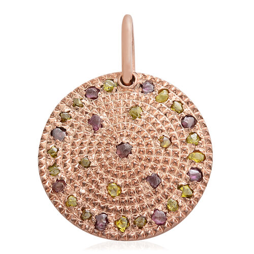Multi Colour Diamond Pendant in Rose Gold Overlay Sterling Silver 1.330 Ct. Silver wt 6.49 Gms.