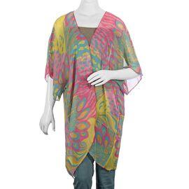Multi Colour Peacock Feather Print Kimono (Size 81.28x88.9 Cm)