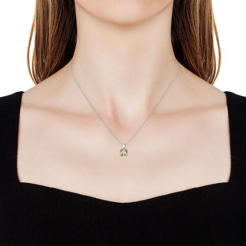 ELANZA Swiss Star Simulated Colour Change Diamond (Green and Yellow) Pendant With Chain (Size 18) in Rhodium Overlay Sterling Silver