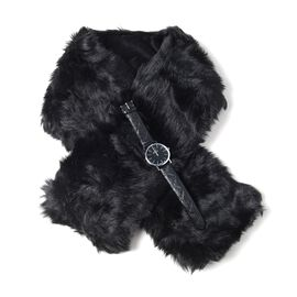 2 Piece Set - STRADA Japanese Movement Watch with Black Colour Strap and Black Colour Faux Fur Scarf (Size 100x15 Cm)