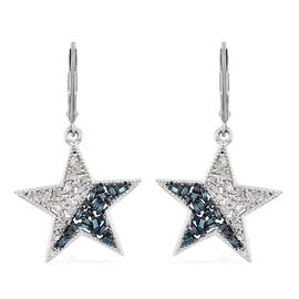Blue and White Diamond (Bgt) Lever Back Star Earrings in Platinum Overlay with Blue Plating Sterling