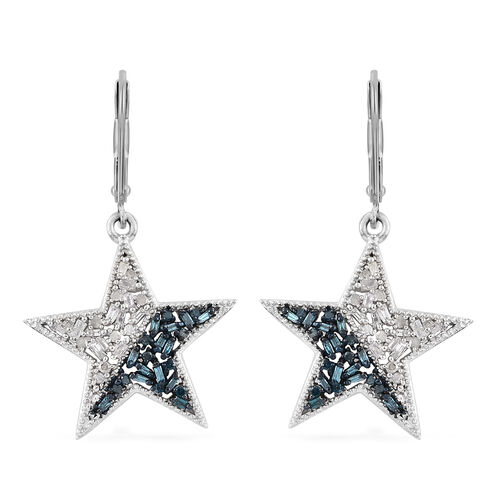 Blue and White Diamond (Bgt) Lever Back Star Earrings in Platinum Overlay with Blue Plating Sterling Silver 0.500 Ct.