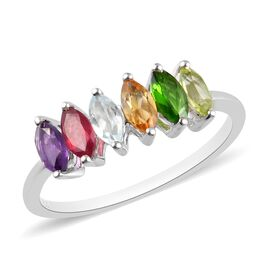 African Ruby, Russian Diopside, Peridot and Multi Gemstone 6-Stone Ring in Platinum Overlay Sterling