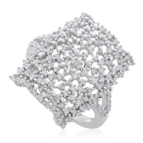 Limited Edition- Designer Inspired- Fire Cracker Diamond (Rnd) Ring in Platinum Overlay Sterling Sil