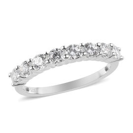 J Francis - Platinum Overlay Sterling Silver (Rnd) Half Eternity Ring Made with SWAROVSKI ZIRCONIA 1