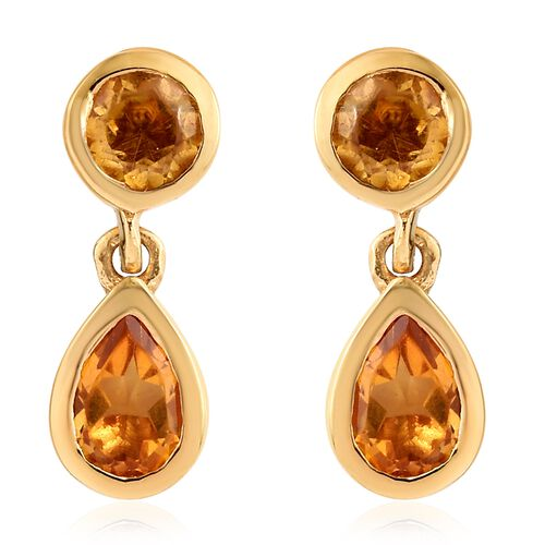 WEBEX- Brazilian Citrine (Pear) Earrings with Push Back in 14K Yellow Gold Overlay Sterling Silver 1.250  Ct.