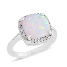 Simulated Welo Opal (Princess) and Simulated Diamond Ring in Rhodium Plated.