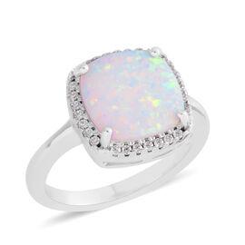 Karis Created Opal (2.47 Ct),Simulated Diamond Brass Ring  2.890  Ct.