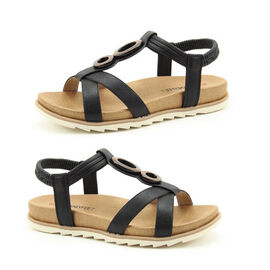 Heavenly Feet Flat Sandals with Elasticated Sling Strap (Size 3) - Black