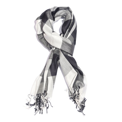 Black, Grey and White Colour Checks Pattern Scarf with Fringes (Size 190X70 Cm)