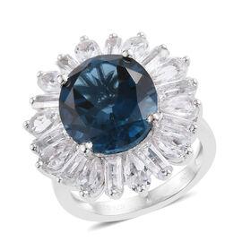London Blue Topaz (Ovl), White Topaz Ring (Size P) in Rhodium Overlay Sterling Silver 13.143 Ct.