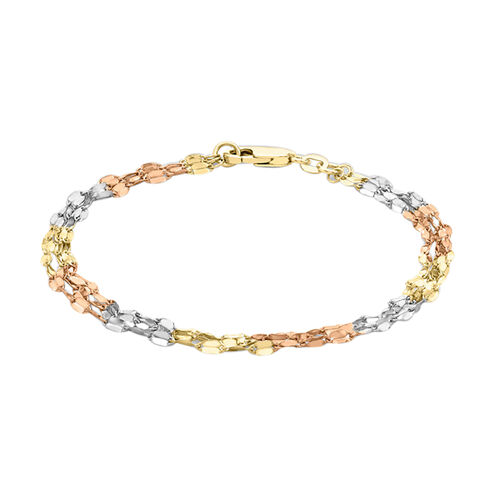 Hatton Garden Close Out Deal 9K White, Yellow and Rose Gold Twisted Bracelet (Size 7.5)