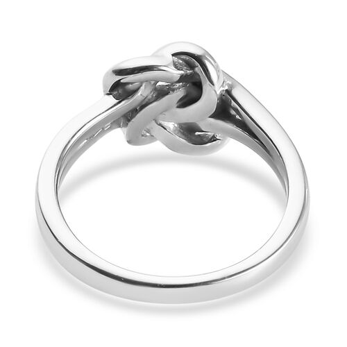 Platinum Overlay Sterling Silver Knot Ring