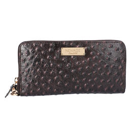 100% Genuine Leather RFID Protected Ostrich Embossed Wallet (Size 20.4x3x11.7 Cm) - Chocolate