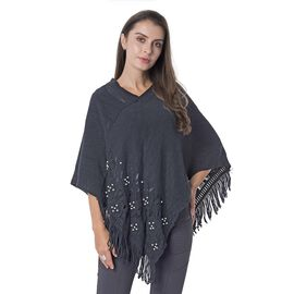 Beads Flower Hollow - Out Pattern Poncho with Tassels (Size 70x65 Cm) Colour Black