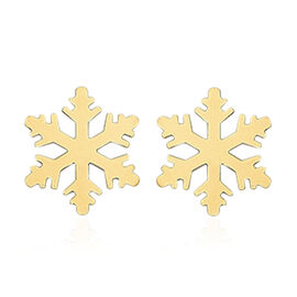 9K Yellow Gold Snowflake Stud Earrings (with Push Back)