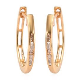 Diamond Hoop Earrings (with Clasp) in 14K Gold Overlay Sterling Silver