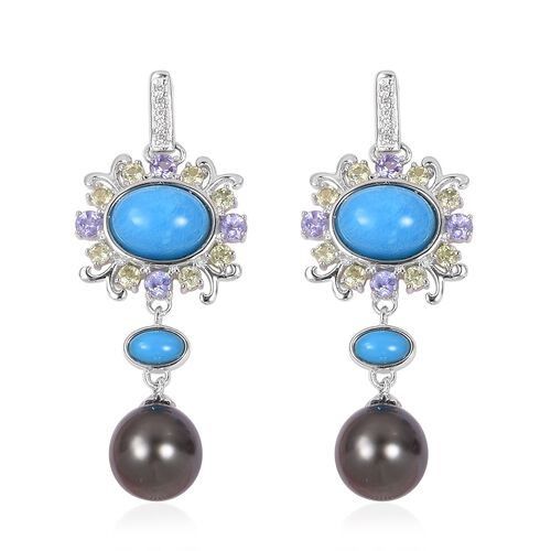 Tahitian Baroque Pearl (8-9mm), Arizona Sleeping Beauty Turquoise, Tanzanite and Multi Gemstones Earrings (with Push Back) in Rhodium Plated Sterling Silver 14.710 Ct.