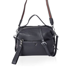 100% Genuine Leather Black Colour Crossbody Bag with Extrernal Zipper Pocket (Size 26x12x20 Cm)