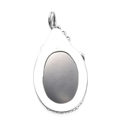 Artisan Crafted Boi Ploi Black Spinel (Ovl 30x20mm) Pendant in Sterling Silver 63.70 Ct.