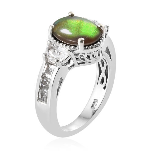 AA Canadian Ammolite (Ovl 10x8 mm) White Topaz Ring in Platinum Overlay Sterling Silver.
