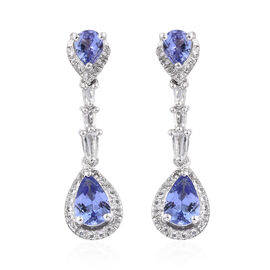 Designer Inspired-Tanzanite (Pear), White Topaz Earrings in Platinum Overlay Sterling Silver 2.500 Ct.