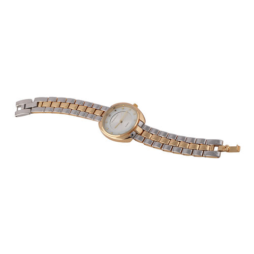 DIAMOND & CO LONDON Diamond Studded Watch with Adjustable Link Strap - Yellow Gold and Silver Tone