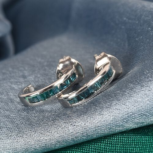 Blue Diamond J Hoop Earrings (with Push Back)  in Platinum Overlay Sterling Silver 0.250  Ct.